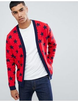 Boohoo Man Shawl Cardigan With Stars In Red by Boohoo Man