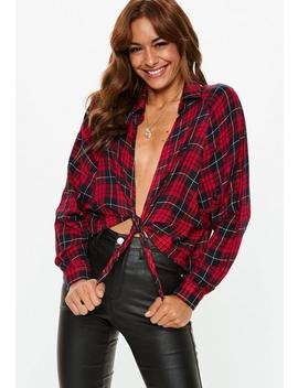 Red Oversized Tie Front Plaid Shirt by Missguided