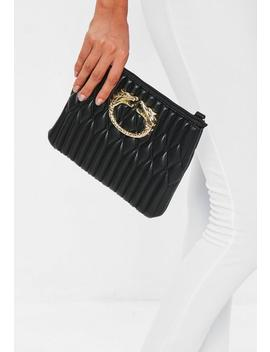 Black Quilted Dragon Trim Clutch by Missguided