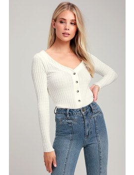 Lotta Love Ivory Button Front Knit Cardigan by Project Social T