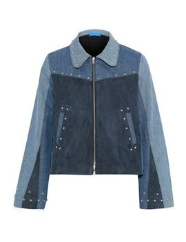 Folken Suede Paneled Color Block Studded Denim Jacket by M.I.H Jeans