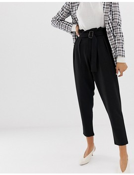 Asos Design Crepe Paperbag Waist Peg Pants With Tortoiseshell Buckle by Asos Design