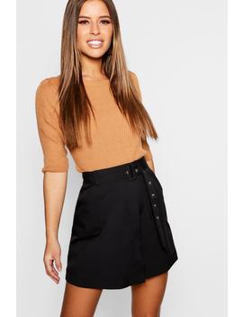 Petite Self Belt Mini Skirt by Boohoo