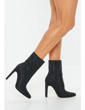 Black Python Ankle Boots by Missguided