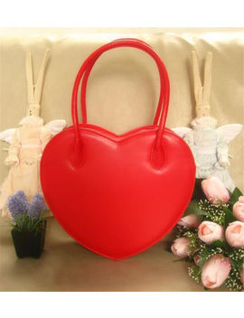 Fashion Women Heart Shaped Bag Lolita Handbag Clutch Purse Wallet Pu Handbag by Unbranded