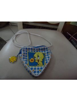 Heart Shaped Crossbody Shoulder Bag With Tweety Bird Embroidered On Front by Looney Tunes