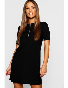 Petite Ribbed Zip Front T Shirt Dress by Boohoo