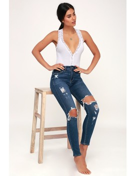 Naughty But Nice White Lace Ribbed Bodysuit by Free People