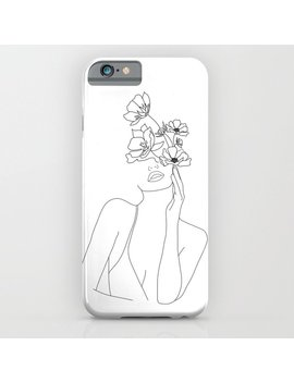 Minimal Line Art Woman With Flowers I Phone Case by