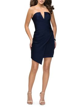 Strapless Asymmetrical Party Dress by La Femme