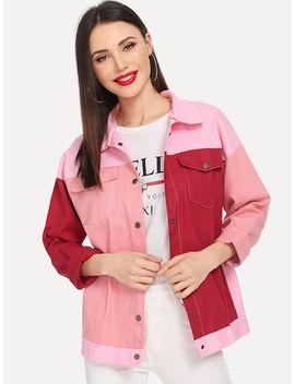 Colorblock Single Breasted Denim Jacket by Sheinside