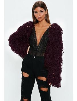 Burgundy Shaggy Crop Knitted Cardigan by Missguided