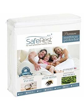 Safe Rest Twin Size Premium Hypoallergenic Waterproof Mattress Protector   Vinyl Free by Safe Rest
