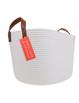 Sweetzer & Orange Large Woven Cotton Rope Storage Basket (Vegan Leather Handles)   Blanket Storage Baskets, Laundry Basket, Toy Storage, Nursery Hamper   Decorative Off White Basket For Living Room by Sweetzer & Orange