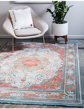 Unique Loom Baracoa Collection Bright Tones Vintage Traditional Light Blue Area Rug (5' X 8') by Unique Loom