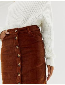 New Look Button Through Pencil Skirt In Rust by New Look