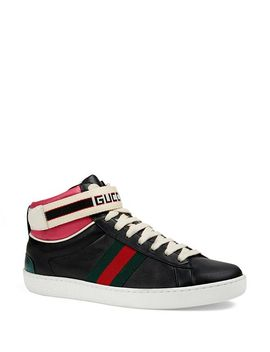 Women's New Ace High Leather Sneakers by Gucci