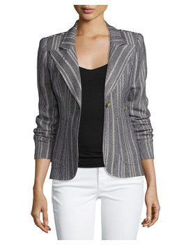 Duchess Tweed Single Button Blazer W/Suede Elbow Patches by Neiman Marcus
