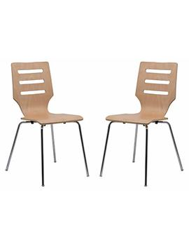 Leisure Mod Oliver Plywood Modern Dining Chair Chrome Frame, Set Of 2 (Natural Wood) by Leisure Mod