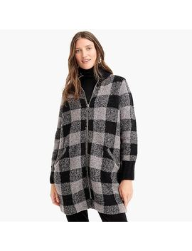 The Reeds X J.Crew Buffalo Check Coat Cardigan In Black by J.Crew
