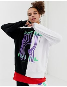 Collusion Colourblock Sweatshirt With Graphic Print by Collusion