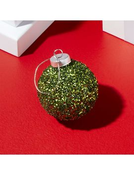 Small Green Glitter Ball Ornament by Crate&Barrel
