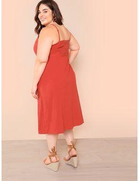 Plus Button Front Surplice Wrap Cami Dress by Shein