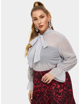 Plus Ruffle Cuff Tied Neck Blouse by Shein