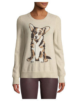Cashmere Puppy Jacquard Crewneck Sweater by Neiman Marcus