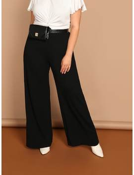 Plus Solid Straight Leg Pants by Shein
