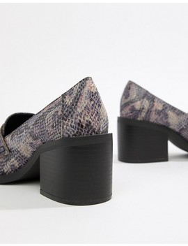 Asos Design Taxon Snake Print Heeled Loafers by Asos Design