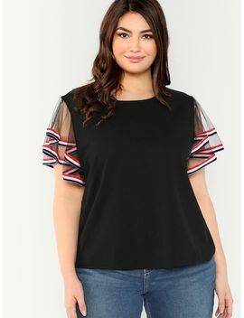 Plus Contrast Striped Layered Mesh Sleeve Tee by Shein