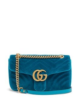 Gg Marmont Small Quilted Velvet Shoulder Bag by Matches Fashion