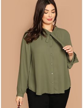 Plus Tie Neck Solid Shirt by Shein