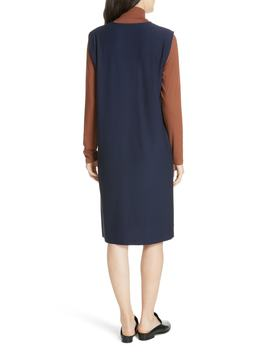 Deep V Neck Knee Length Shift Dress by Eileen Fisher