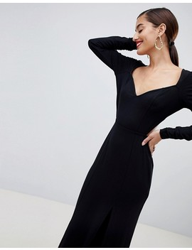 Asos Design Ruched Sleeve Open Back Sweetheart Neck Maxi Dress by Asos Design