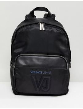 Versace Jeans Backpack In Black With Logo by Versace Jeans