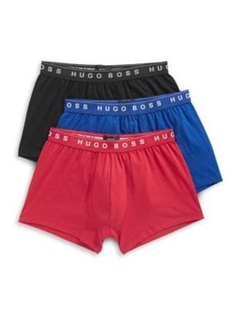 Three Pack Pure Cotton Boxer Trunks by Boss