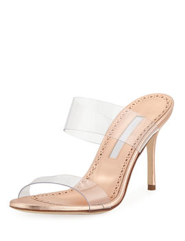 Scolto Leather And Pvc Slide Sandals by Manolo Blahnik