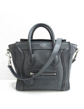 Luggage Nano Tote Black Calfskin Satchel by Céline
