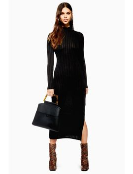 High Neck Rib Midi Dress by Topshop