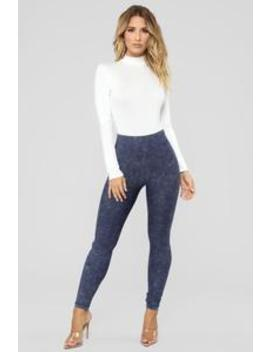 Bad As Ever Moto Leggings   Navy by Fashion Nova