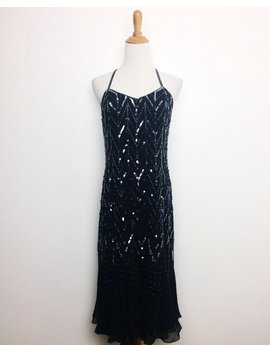 Vintage 80s Dress/ 80s Black Silver Sequins Fringed Silk Dress/ Silk Beaded Party Dress/ Small Medium by Etsy