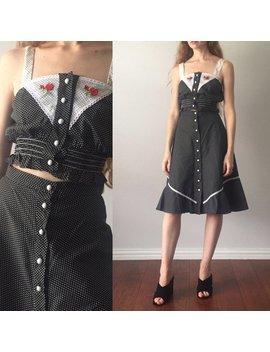Vintage 1970s 2 Piece Set / Matching Crop Top High Waist Skirt / Two Piece Vintage Skirt Set / Rare Polka Dot 70s Skirt Set / Size Xs by Etsy