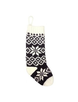 Casual Fair Isle Snowflake Christmas Stocking Black/White   Wondershop™ by Wondershop