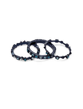 Karis Navy Gunmetal Stackable Ring Set In Indigo Mix   8 by Kendra Scott