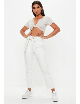 White Paperbag Waist Straight Leg Jeans by Missguided