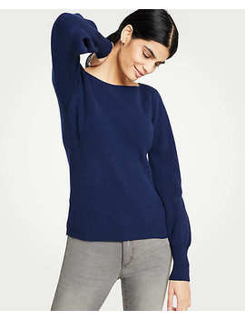 Ribbed Boatneck Lantern Sleeve Sweater by Ann Taylor