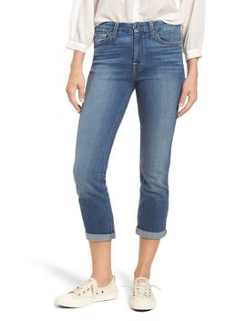 Rolled Straight Leg Crop Jeans (Lorient Blue) by Jen 7