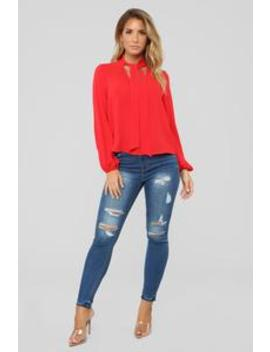 Without You Blouse   Red by Fashion Nova